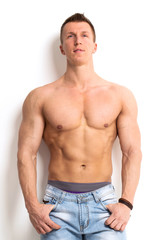 Fitness. Strong man with beautiful, sexy body