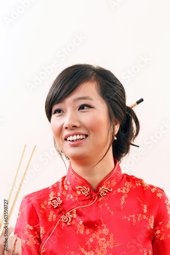 chinese woman with chopstics