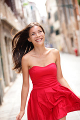 Asian beautiful woman in summer dress