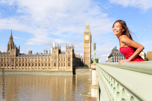 London woman on Westminster Bridge by Big Ben
