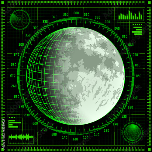 Radar screen with Moon