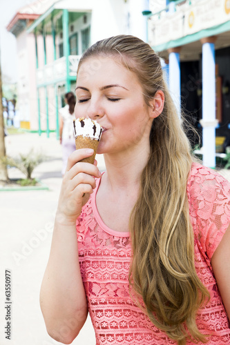 Eating a delicious ice cream