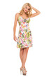 canvas print picture - Vogue. Beautiful blonde in cute dress