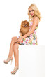 Vogue. Beautiful blonde with dog