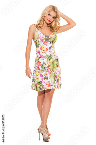 canvas print picture Vogue. Beautiful blonde in cute dress