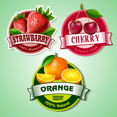 fresh fruits banner and stickers
