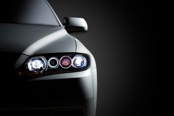 Black modern car closeup