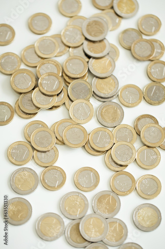 Money, finances. Euro coins