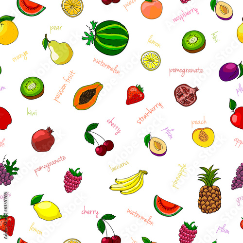 Fresh fruits seamless pattern