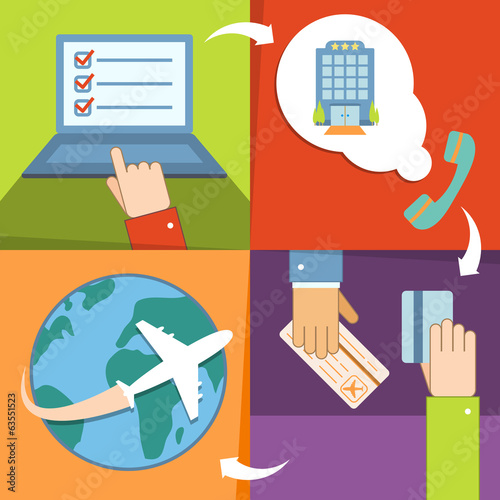Business reservation and booking icons set