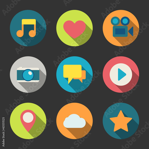 Social media icons set for blogging