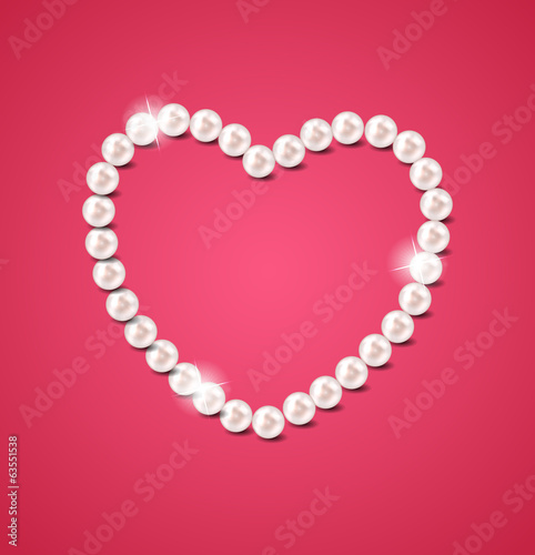 Pearl heart vector illustration background