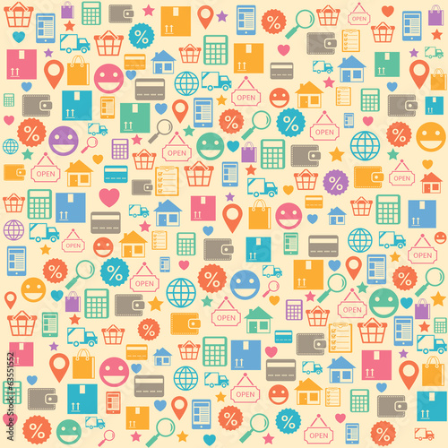 Ecommerce online shopping seamless background pattern