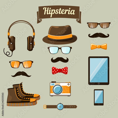 Hipster devices icons set