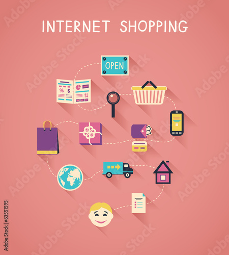 Internet marketing and online shopping infographics