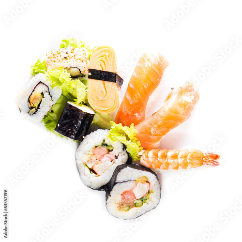 Sushi collection, isolated on white background.