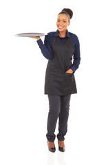 african american waitress full length portrait