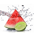 Leinwandbild Motiv watermelon, lime and water splash isolated on white