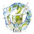 mohito - water splash with mint, lime and sugar isolated on whit