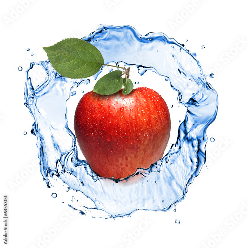 red apple with leaves and water splash isolated on white