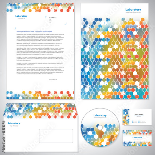 Universal orange-blue corporate identity template.