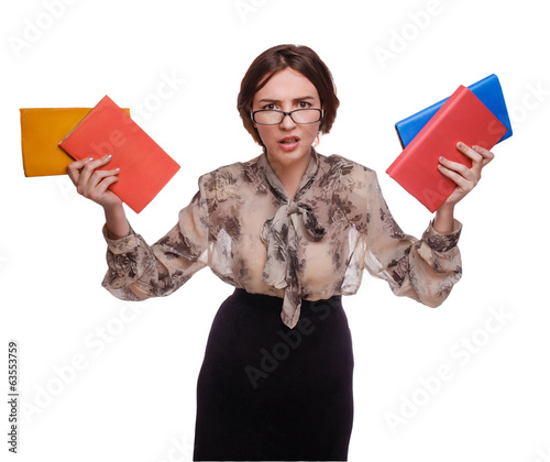 angry teacher woman in glasses with books isolated on white back