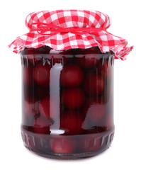 Cherries preserved in glass jar homemade