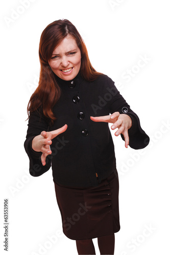 woman angry displeased strangles isolated on white