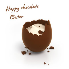 Happy Easter chocolate egg with cream filling