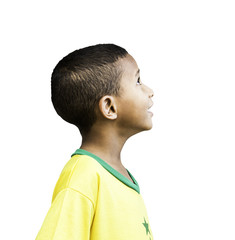 Brazilian little boy looks to the infinite on white background