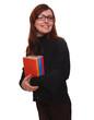 woman brunette glasses student girl teacher reading book isolate