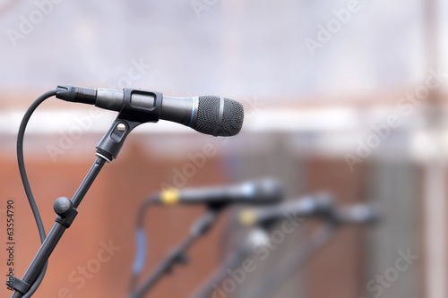 Row of Microphones for Backup Singers