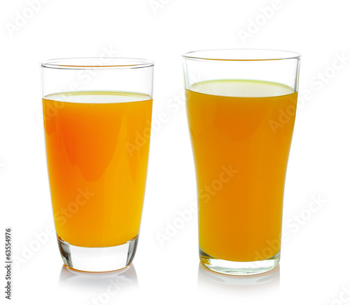 glass of orange juice isolated on white background