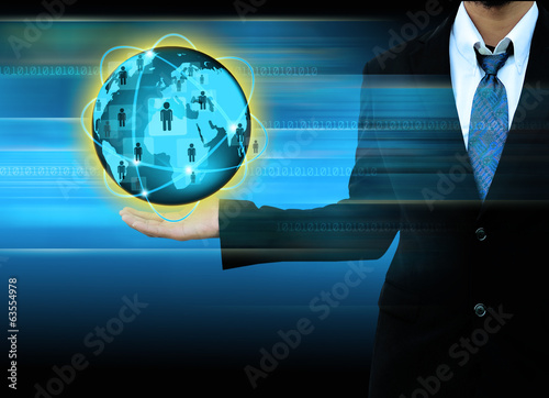 businessman holding world social network