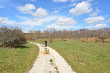 Mujer sola andando por un camino rural en primavera