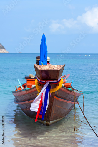 Thailand ship and sea landscape on island Koh Phangan
