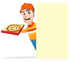 Pizza delivery man with pizza box and holding the blank board