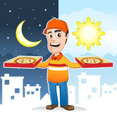 Pizza delivery man - 24 hours a day service