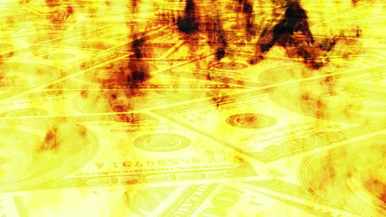 Burning Money Looping Animated Background