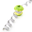 white measuring tape and apple