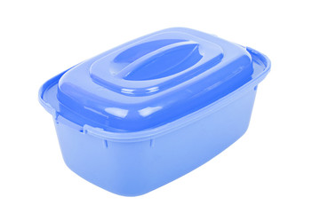 The closed blue food container