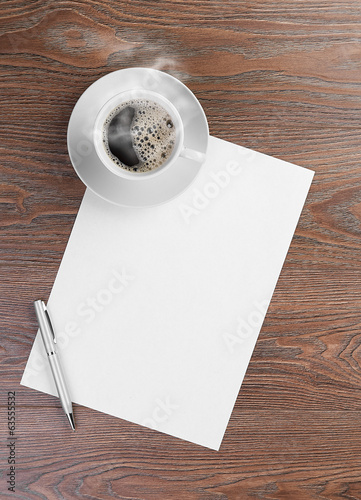 white coffee cup on blank