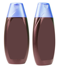 Brown shampoo bottles with green caps