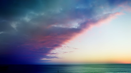 Beach Time lapse unnatural colors on nature
