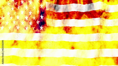 USA Flag burning non looping Animated Background
