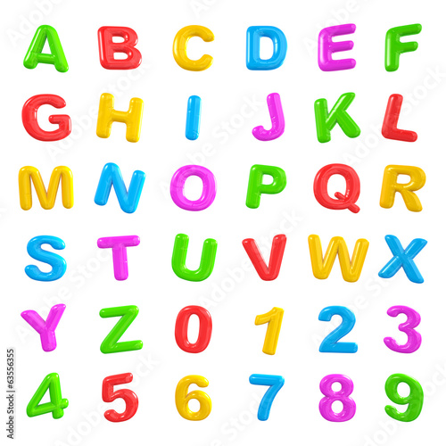English Multi-colored Alphabets and numbers