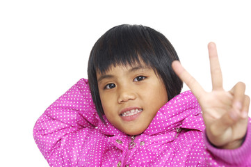 Little girl showing two hands with victory gesture