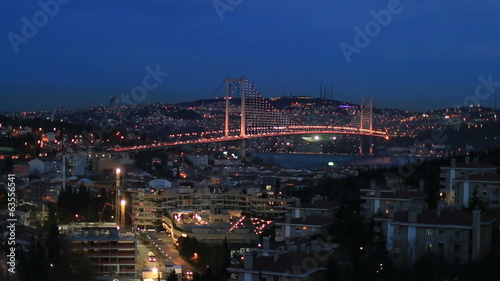time lapse city light with Bosporus Bridge, zoom in dolly shot