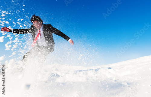 Businessman Snow Boarding