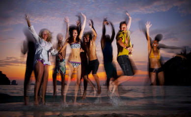 Group of Young People Enjoying Beach Party